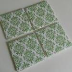 Green and White Damask Print Tile C..