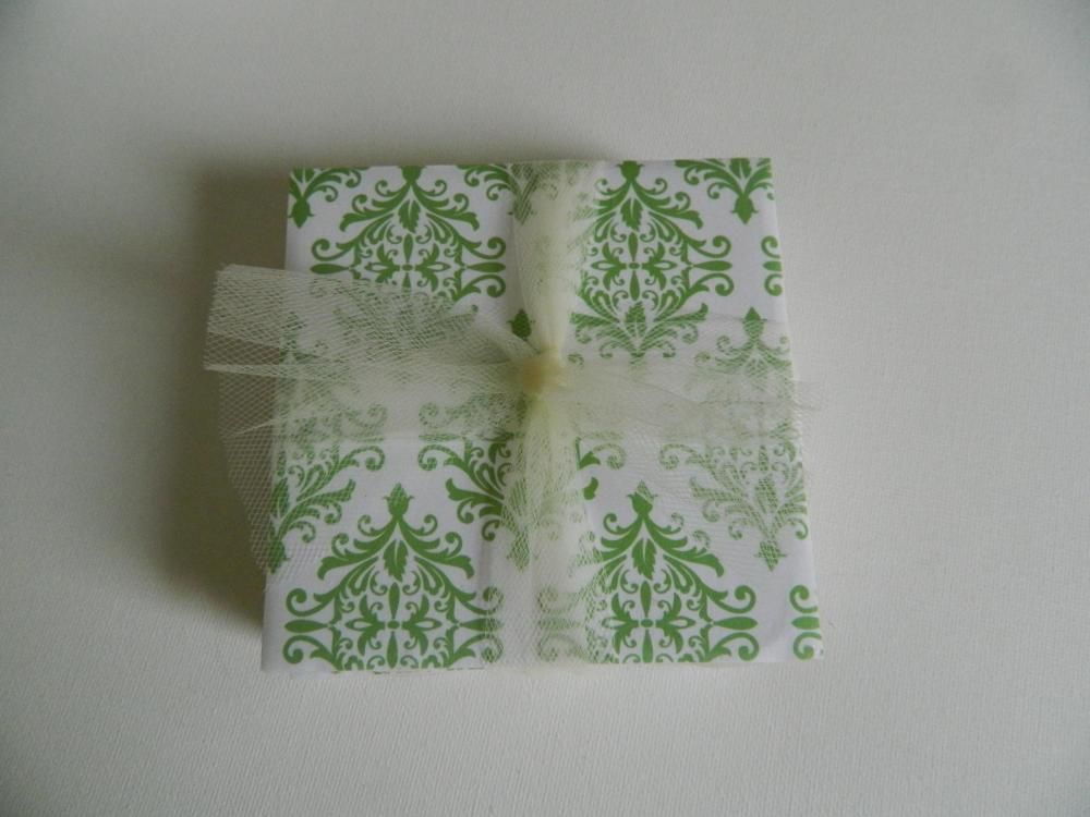 Green and White Damask Print Tile Coasters