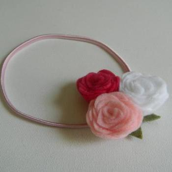Light Pink, Dark Pink and White Felt Flower Headband