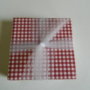 Red Gingham Tile Print Coasters